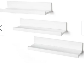 American Flat White Set of 3 14  Floating Shelves