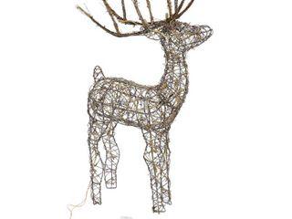 Brown Alpine Corporation Rattan Reindeer with Halogen lights  35 Inch Brown