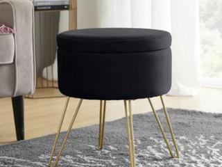 Round Velvet Ottoman With Metal legs Black