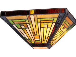 Chloe lighting Innes Tiffany Style 1 light Mission Wall Sconce  12  Wide