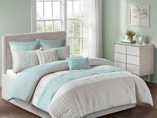 King Design Irvine Seafoam  Grey 8 piece Comforter Set Retail 79 98