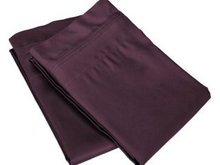 Egyptian Cotton 650 Thread Count Oversized King Pillowcase Set Solid  Plum