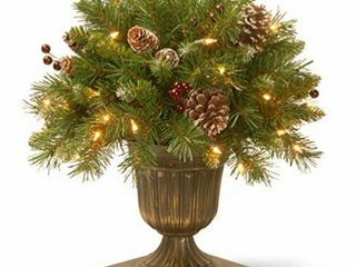 National Tree 18  Frosted Berry Porch Bush with Cones and Red Berries in Dark Bronze Urn with 35 Clear lights