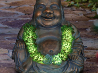 Exhart Solar Happy Buddha With Succulents
