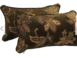 Brown Floral   18 inch Corded Patterned Jacquard Chenille lumbar Throw Pillows  Set of 2