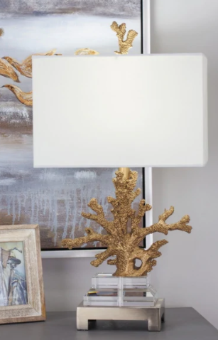 Set Of 2 Coastal 26 Inch Gold Coral Table lamp