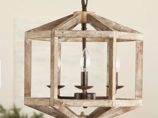 3 light Antique Modern Farmhouse Off White   Wood Chandelier Retail 213 49