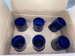Handmade set of 6 Blown Glass