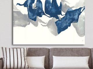Designart  Gouache Sapphire on Gray  Modern Canvas Wall Art   Blue Retail 89 49