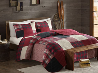 WoolRich Quilt Mini Set  King Cal King  Oversized Red Grey Plaid
