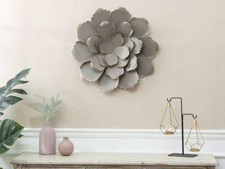 WHA1073 Dark Gray   Gold Tipped Metal Flower Wall Decor