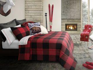 Safdie   Co  Comforter Set 3Pc K Revers  Buffalo Plaid Red Black Red King