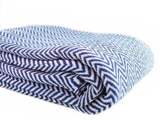 Melange Home Herringbone Yarn Dyed 100pct Cotton Blanket