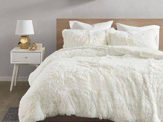 Full Queen leena 3pc Shaggy Faux Fur Duvet Cover Set Ivory