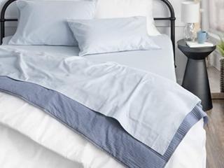 100  Cotton Brushed Flannel Powder Blue Full Sz Sheet Set