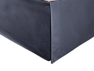 Impressions 1500 Series 100  Microfiber Wrinkle Resistant Pleated Bed Skirt with 15 Drop  Queen  Solid  Navy Blue