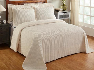 Better Trends Julian Collection in Solid Stripes Design 100  Cotton Tufted Chenille  Full Double Bedspread
