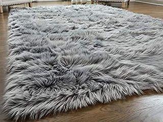 GORIllA GRIP Original Premium Faux Fur Area Rug  Soft living Room Area Rug  5x7  Bedroom Floor Rugs  Softest Feeling Carpet  Best Touch  luxury Modern Room DAccor  Rectangle  Grey