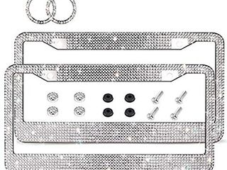 Ablawnct Bling license Plate Frame  luxury Handcrafted Car Frame Plate Rhinestone Bling with Ignition Button Unique Gift for Women Girls  Silver