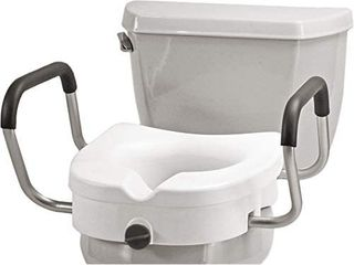 NOVA Medical Products NOVA Elevated Raised Toilet Seat with Removable  Adjustable Padded Arms  20a Width Between Arms  locking  Easy On and Off  for Standard and Elongated Toilets  White