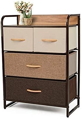 YOUNIS Dresser Organizer Cabinet Drawer Storage with 4 Drawers  Sturdy Steel Frame Storage Shelves  Wood Top Closet Storage  Easy Pull Fabric Bins   Organizer Unit for Homes  Offices  Dormitories