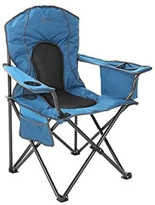 ARROWHEAD OUTDOOR Portable Folding Camping Quad Chair w  4 Can Cooler  Cup Holder  Heavy Duty Carrying Bag  Padded Armrests  Supports up to 330lbs  USA Based Support mustard yellow   damage see pictures