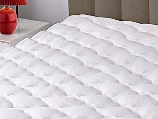 Mattress Pad Cover  100  Cotton Top with 8 21  Deep Pocket  Snow Down Alternative Filled Cooling Mattress Topper  King didn t come in a bag  will need washed