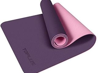 TOPlUS Yoga Mat  Non Slip Texture Pro 1 4 Inch Thick Yoga Mat Eco Friendly Exercise   Workout Mat with Carrying Strap  Fitness Mat for Yoga  Pilates and Floor Exercises