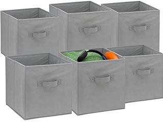Foldable Cube Storage Bins   6 Pack   These Decorative Fabric Storage Cubes are Collapsible and Great Organizer for Shelf  Closet or Underbed  Convenient for Clothes or Kids Toy Storage  Black