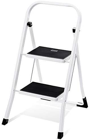 Delxo 2 Step ladder Folding Step Stool ladder with Handgrip Anti Slip Sturdy and Wide Pedal Multi Use for Household and Office Portable Step Stool Steel 300lbs