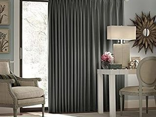 Blackout Patio Door Curtain Panel  100 Inch x 84 Inch  Charcoal