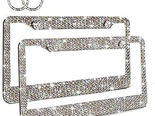Ablawnct Rainbow Bling license Plate Frame  luxury Handcrafted Car Frame Plate