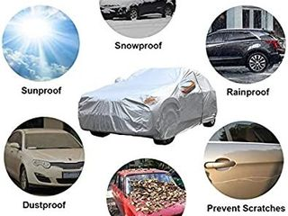 SEAZEN Car Cover with Zipper 2 layer Full Car Covers Waterproof All Weather UV Protection Snowproof Dustproof Universal Car Cover