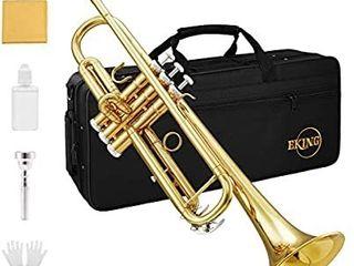 Eking Standard Student Trumpet Brass Gold Bb Trumpet Beginner with Hard Case