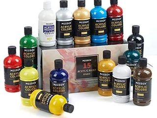 MEEDEN Acrylic Paint Set  15 Vibrant Colors   500Ml 16 9 oz  Non Toxic for Canvas  Fabric  Crafts  and More for Artists  Beginner and Students