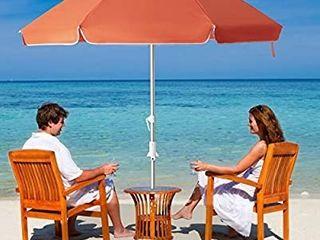 6 5 ft Beach Umbrella with Sand Anchor   Tilt Mechanism  Portable UV 50  Protectioni1 4Outdoor Sunshade Umbrella with Carry Bagi1 4for Garden Beach Outdoor  6 5FT  Orange