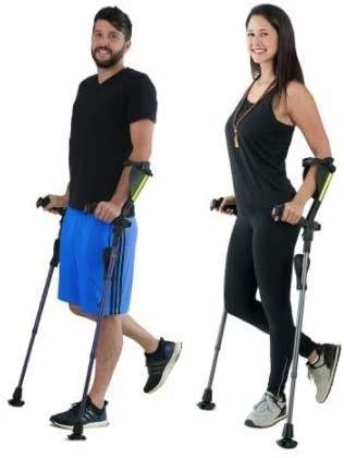 Ergobaum 7G by Ergoactives  1 Pair  2 Units  of Ergonomic Forearm Crutches   Adult 5    6 6  Adjustable  Foldable  Ergonomic  Shock Absorber  Non Slip  Knee Rest Platforms  lED lights  Black