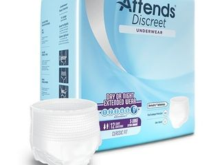 Attends Discreet Day Or Night Extended Disposable Incontinence Underwear  Xl  12 Count