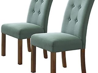 HomePop Parsons Classic Button Tufted Accent Dining Chair  Set of 2  Aqua patterned