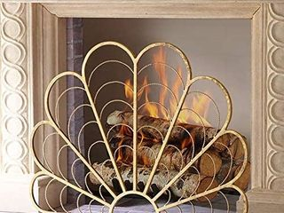Fireplace Screens MYl Single Panel Gold Finish Iron  Vintage Fire Spark Guard with Metal Mesh  Peacock Feather Design  96A22A78 5cm