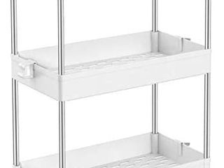 SPACEKEEPER Slim Storage Cart  4 Tier Bathroom Organizers Rolling Utility Cart Slide Out Storage Shelves Mobile Shelving Unit Organizer for Office  Kitchen  Bedroom  Bathroom  laundry Room  White