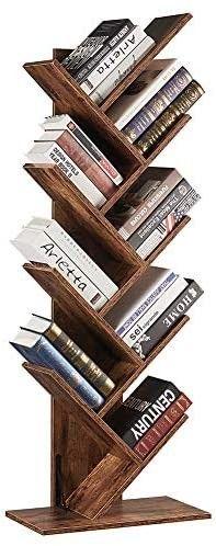 SUPERJARE 9 Shelf Tree Bookshelf  Floor Standing Tree Bookcase in living Room Home Office  Bookshelves Storage Rack for CDs Movies Books   Rustic Brown
