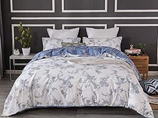 JUCFHY Scroll Pattern Duvet Cover Queen  90x90 inches Vintage Paisley 3 Pieces Reversible Queen Duvet Cover