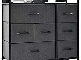 charaHOME Drawer Dresser Gray  Dresser Organizer with 7 Drawers  Fabric Dresser Storage Tower