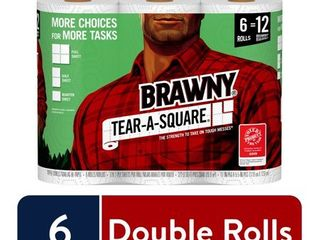 Brawny Tear A Square Paper Towels   6 Xl Rolls  White