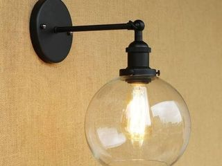 Industrial Wall Sconce with Globe Glass Shade