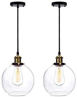 Frideko 2 Pack of Vintage Ball Glass Ceiling Pendant light