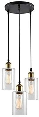 VIlUXY Vintage 3 light Glass Pendant light