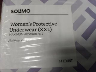 Solimo Womenas Protective Underwear Size Xxl Fits 64 80a Waist  14 Count  001