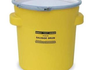 Eagle 1654 Yellow Blow Molded HDPE Salvage Drum with Metal Ring lever lock lid  20 gallon Capacity  21  Height  21  Diameter